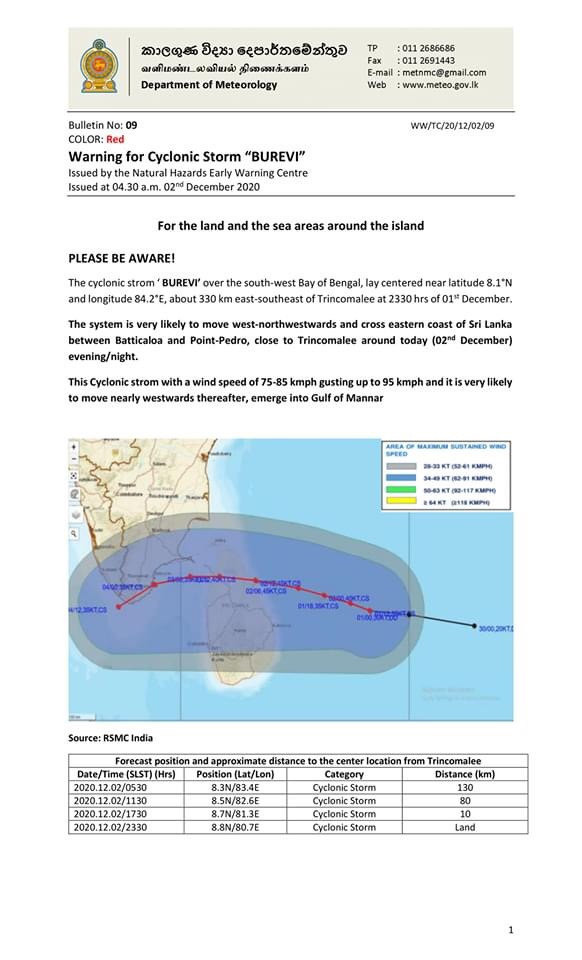 status about cyclone burevi by meteorological department
